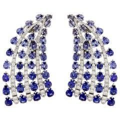 Valentin Magro Sapphire and Diamond Fan Earrings
