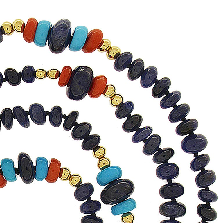 Women's Valentin Magro Sapphire, Coral and Turquoise Rondelle Necklace For Sale