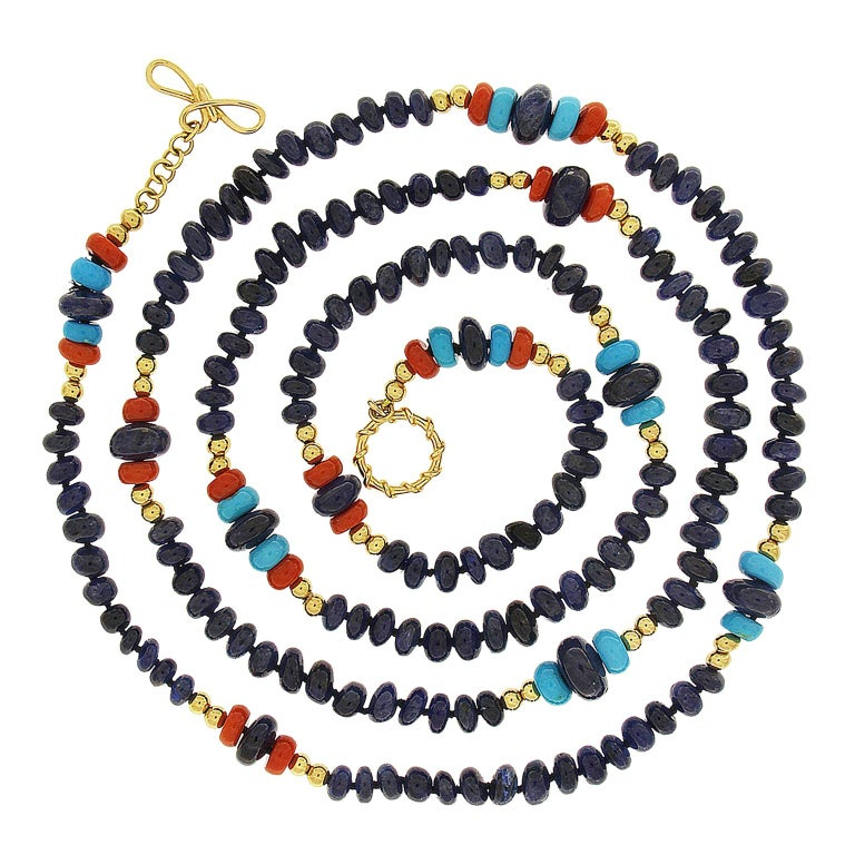 Valentin Magro Sapphire, Coral and Turquoise Rondelle Necklace For Sale