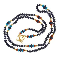 Valentin Magro Sapphire, Coral and Turquoise Roundels Necklace