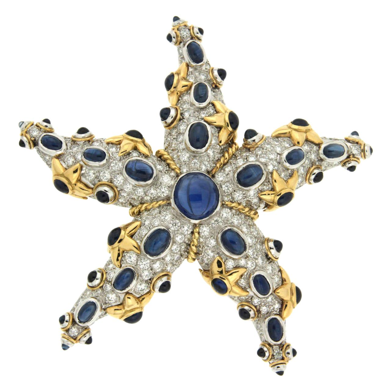 Valentin Magro Sapphire Diamond Gold Starfish Brooch