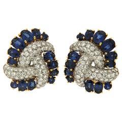 Valentin Magro Sapphire Diamond Swirl Earrings