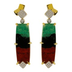 Valentin Magro Senoran Sunset Diamond Gold Post Earrings