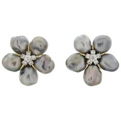 Valentin Magro Silvery Grey Keshi Pearl Flower Cluster Earrings