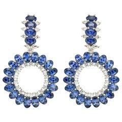 Valentin Magro Single Circle Oval Sapphire Diamond Platinum Earrings