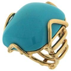 Valentin Magro Sleeping Beauty Cushion Turquoise Gold Ring
