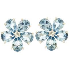 Valentin Magro Small Cluster Aquamarine Earrings