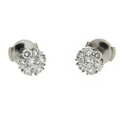Valentin Magro Small Diamond Cluster Platinum Earrings