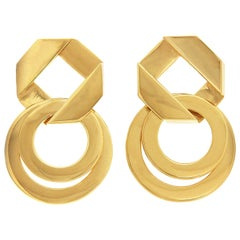 Valentin Magro Small Double Fold Over Link Gold Earrings