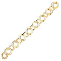Valentin Magro Small Fold over Bracelet with White Enamel