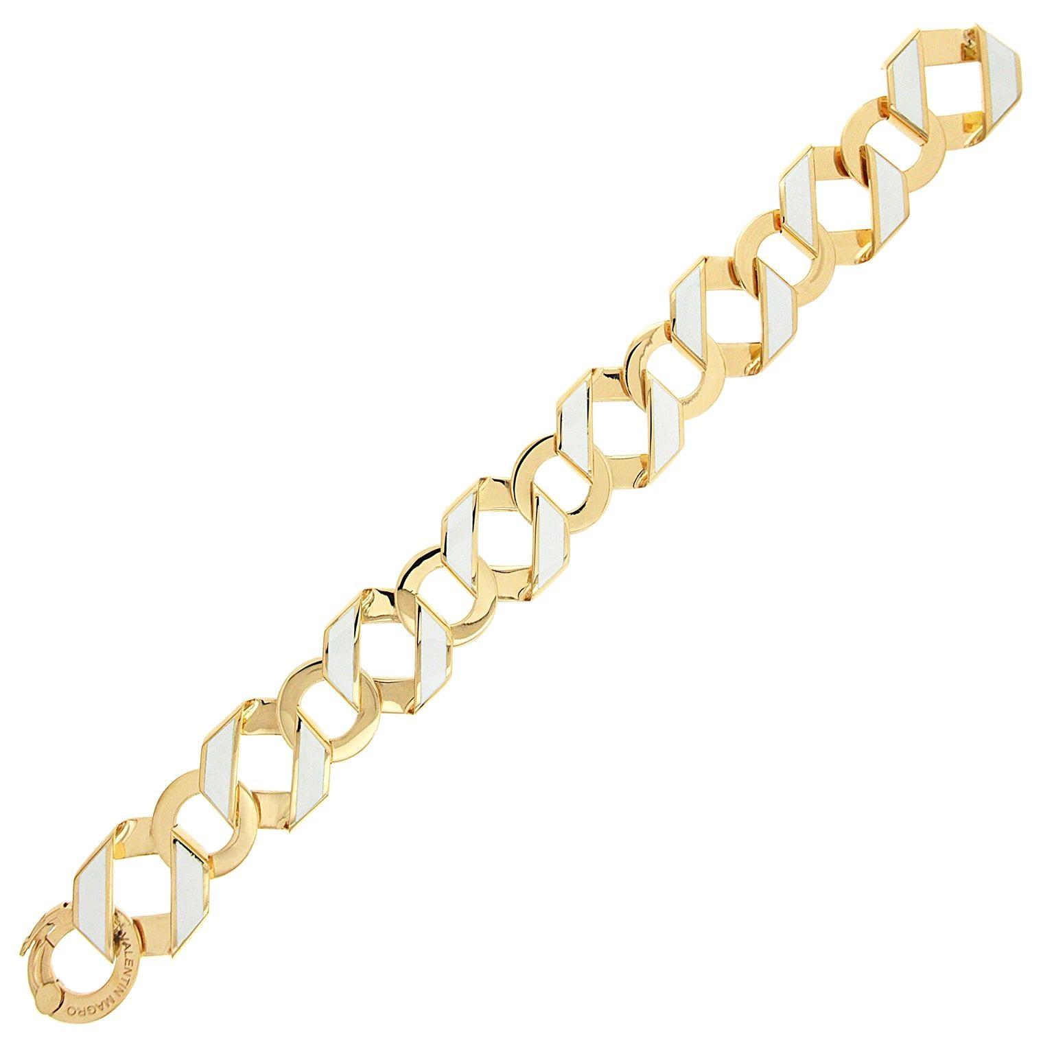 Valentin Magro Small Foldover Bracelet with White Enamel