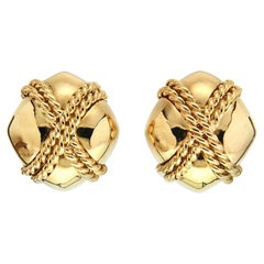 Valentin Magro Small Gold Criss Cross Earrings