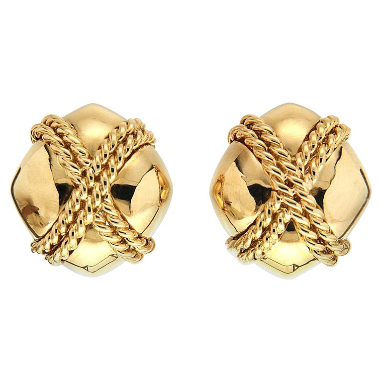 Valentin Magro Small Gold Criss Cross Earrings For Sale