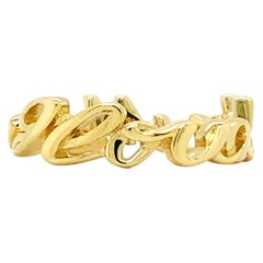 Valentin Magro Small I Love You More Ring, Script, 18 Karat Yellow Gold