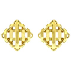 Valentin Magro Small Square Trellis Gold Earrings