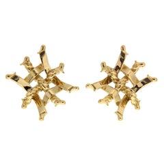 Valentin Magro Small Trellis Woven Gold Earring