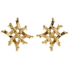 Valentin Magro Small Trellis Woven Gold Earrings
