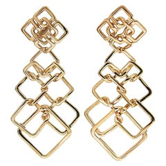 Valentin Magro Small Version Gold Cushion Link Interlocking Dangle Earrings