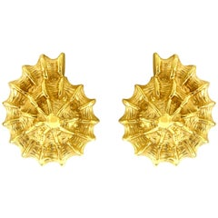 Valentin Magro Small Yellow Gold Scalloped Shell Earrings
