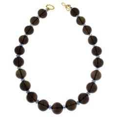 Valentin Magro Smokey Topaz Round Ball and Aquamarine Rondelles Necklace