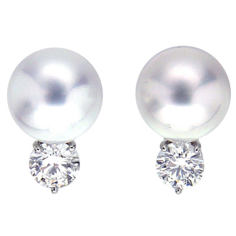 Valentin Magro South Sea Pearl Diamond Earrings with Push Posts For Sale