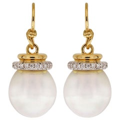 Valentin Magro South Sea Pearl Earrings with Diamond Cap and French Wire