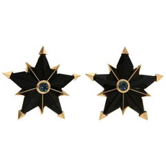 Valentin Magro Special Cut Star Shape Black Jade and Aquamarine Earrings