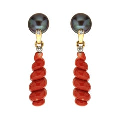 Valentin Magro Spiral Coral Earrings with Tahitian Pearls