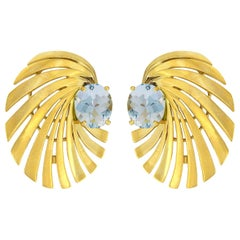 Valentin Magro Spiral Earrings in 18 Karat Yellow Gold with Aquamarine