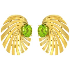 Valentin Magro Spiral Earrings in 18 Karat Yellow Gold with Peridot