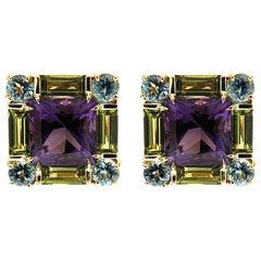 Valentin Magro Square Amethyst Peridot Aquamarine Gold Earrings