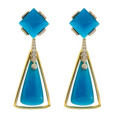 Valentin Magro Square and Teardrop Turqouise and Diamond Earrings