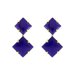 Valentin Magro Lapis Lazuli 18 Karat Yellow Gold Dangling Earrings