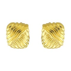 Valentin Magro 18 Karat Yellow Gold Square Wave Earrings