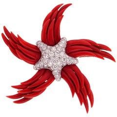 """Valentin Magro """"Stella dei Palme"""" Red Coral and Diamond Starfish Brooch"""