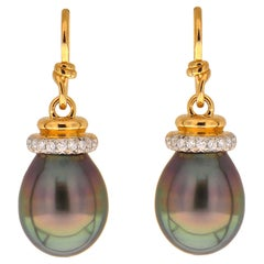 Valentin Magro Tahitian Pearl Earrings with Diamond Cap and French Wire