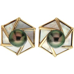 Valentin Magro Tahitian Pearl White Mother of Pearl Gold Earrings