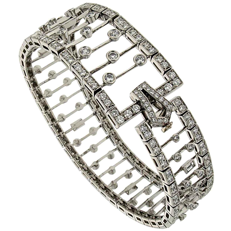 Valentin Magro Tapered Diamond Bracelet in Platinum
