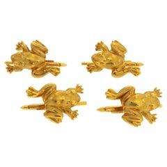 Valentin Magro Textured Gold Frog Shirt Studs