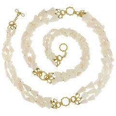Valentin Magro Three-Strand Triangular White Coral Necklace