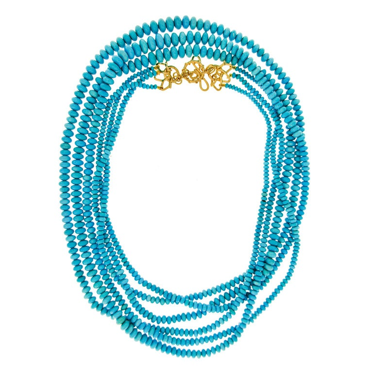 Three strand Turquoise (sleeping beauty) Medium wire knot and wire link toggle with Four interlocking V shapes Necklace -  38 inches long