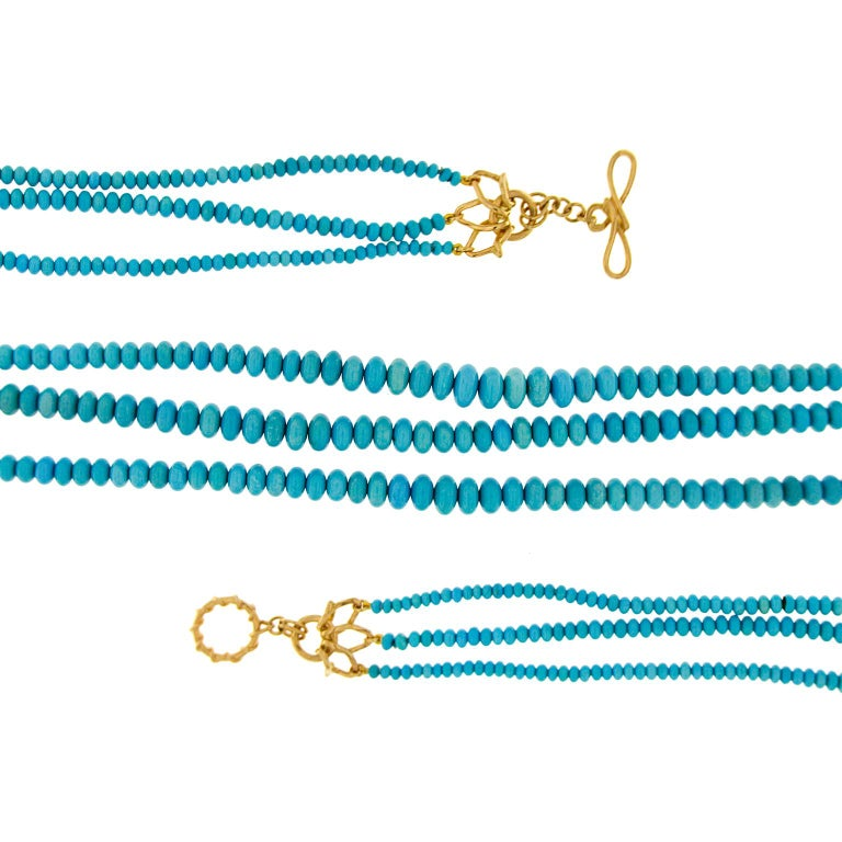 Modern Valentin Magro Three-Strand Turquoise Necklace For Sale