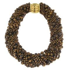 Valentin Magro Tiger's Eye Bead Multi Strand Necklace with Gold Clasp