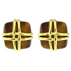 Valentin Magro Tiger's Eye Square Yellow Gold Woven Wire Earrings