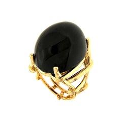 Valentin Magro Trellis Black Jade Gold Ring