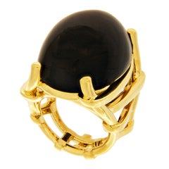 Valentin Magro Trellis Ring with Oval Black Jade Cabochon