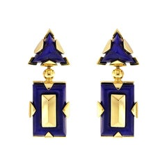 Valentin Magro Triangle and Rectangle Shape Lapis Drop Earrings