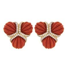 Valentin Magro Triple Fan Coral Diamond Gold Earrings