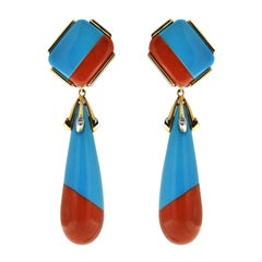 Valentin Magro Turquoise and Coral Diamond Gold Drop Earrings with Diamonds