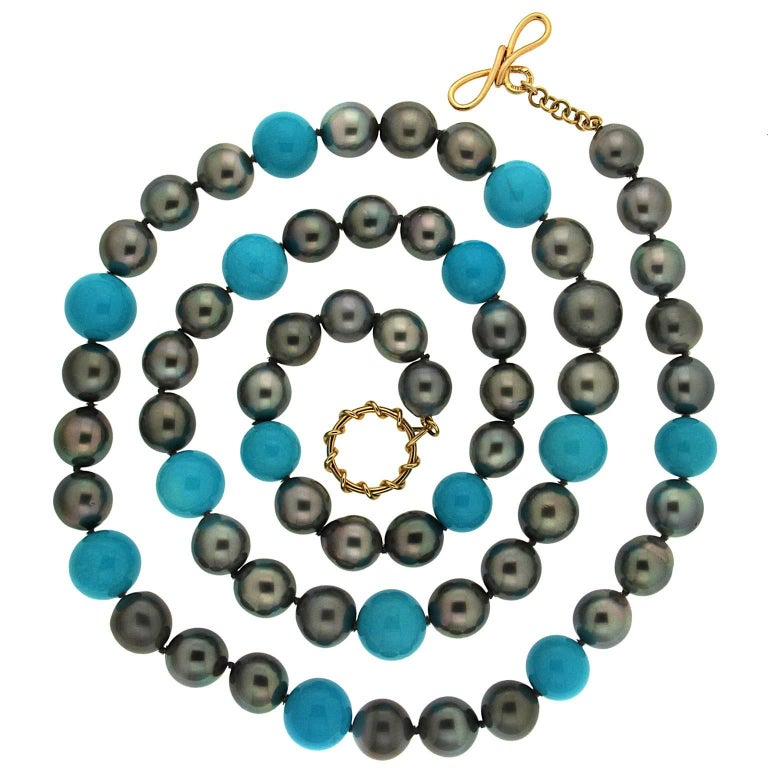Valentin Magro Turquoise and Tahitian Pearl Necklace For Sale